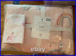 2PC Pottery Barn Kids Molly Rainbow Cotton Quilt Twin Blush + Pillowcase