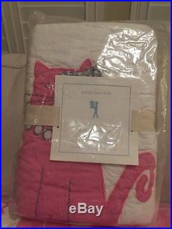2pc NWT Pottery Barn Kids Kitty Cat twin quilt & standard sham pink NWT