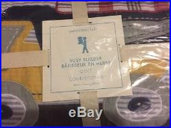 2pc Pottery Barn Kids Construction Busy Builder Twin Quilt Euro Sham Truck