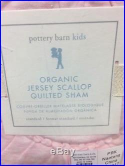 2pc Pottery Barn Kids Organic Jersey Scalloped Quilt Standard Sham Twin Pink