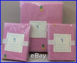 3P Pottery Barn Kids Pink OXFORD EMBROIDERED PINEAPPLE Duvet & Shams FULL/QUEEN