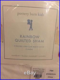 3pc NEW POTTERY BARN KIDS FULL/QUEEN RAINBOW QUILT STANDARD SHAMS NWT