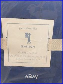 3pc Pottery Barn KIDS BRANSON QUILT STANDARD SHAMS FULL/QUEEN NAUTICAL BLUE F Q