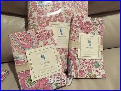 3pc Pottery Barn Kids Brooklyn Paisley Full Queen Duvet Standard Shams Pink