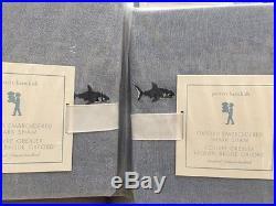3pc Pottery Barn Kids Oxford Embroidered Shark duvet 2 STD shams full queen F Q
