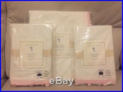 3pc Pottery Barn Kids Pom Pom Duvet Standard Shams White Pink New