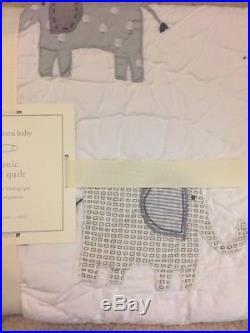 3pc Pottery Barn Kids Toddler Baby Elephant Taylor Crib Quilt/sham/Sheet Nursery
