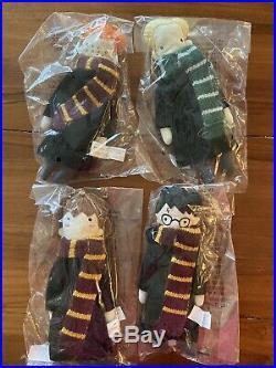 4 Pottery Barn HARRY POTTER HermioneRonDraco Christmas Ornaments Holiday NEW