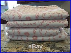 4 Pottery Barn Kids White/Pink Flocked Blackout Curtains 44x96