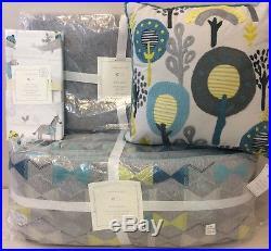 4P Pottery Barn Kids Baby DASH Nursery Quilt Bumper Sheet Decorative Pillow Set