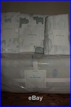 4p NWT Pottery Barn Kids Charlie Hippo nursery crib bumper, quilt sheet & skirt
