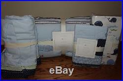 4p NWT Pottery Barn Kids Jackson Whale crib skirt, bumper, sheet & sham nursery