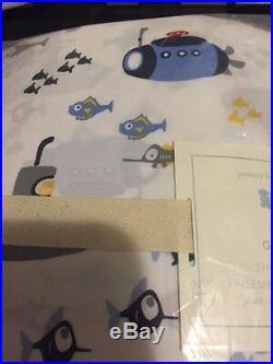 4p Pottery Barn Kids Gavin Submarine Fish Ocean Sheet Set Blue Red Grey Full NWT