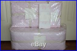 4pc Pottery Barn Kids Belgian Linen nursery crib bumper skirt sheet & quilt pink