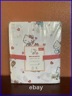 4pc Pottery Barn Kids FULL Hello Kitty Organic Sheet Set Hearts CATS Valentines