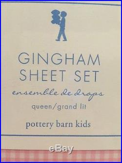 4pc Pottery Barn Kids Gingham Sheet Set QUEEN Pink NWT
