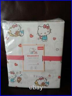 4pc Pottery Barn Kids Hello Kitty Organic Queen Sheet Set Cotton New