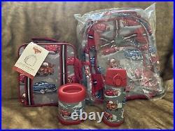 4pc Pottery Barn Kids Mackenzie Small Backpack Set Disney Cars Water Bottle More