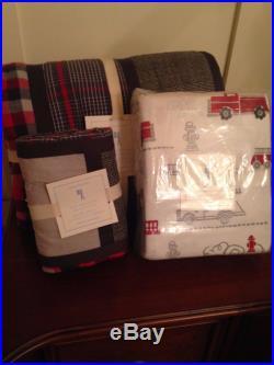 5 Pc Pottery Barn Kids Pld Patchwork Twin Quilt Fire Truck Flannel Sheet Set