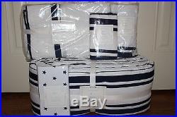 5p Pottery Barn Kids Harper navy nursery set bumper quilt skirt star crib sheet