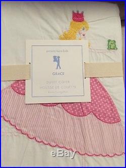 5pc Pottery Barn Kids Grace Embroidered Princess Duvet Cover Sheet Sham Twin