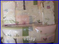 5pc Pottery Barn Kids Hayley Owl nursery set crib skirt bumper quilt sheet sham