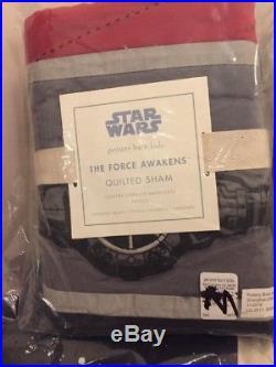5pc Pottery Barn Kids Star Wars The Force Awakens Twin Quilt/Euro Sham/Sheet Set