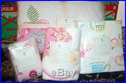 6P Pottery Barn Kids JULIANNE TEA POT QUILT + SHAM SHEET SET GIRL TWIN TEA PARTY