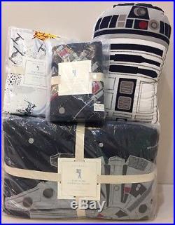 6P Pottery Barn Kids Star Wars MILLENNIUM FALCON Quilt Sheets Pillow Set TWIN