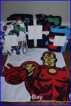 6p NWT Pottery Barn Kids Marvel twin quilt sheet sham & Iron Man pillow Avengers