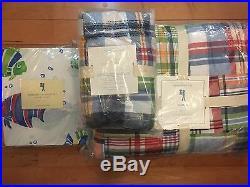 6pc Pottery Barn Kids NEW Madras Quilt, Sham& Bermuda Fish Sheet Set Multi Color