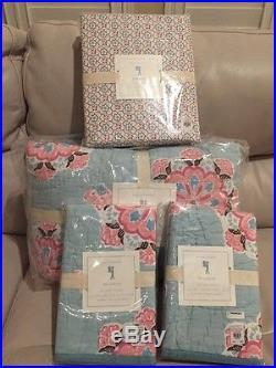 7pc Pottery Barn Kids Brooklyn Queen Quilt Standard Shams Sheet Set Pink/Aqua Q