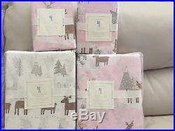 7pc Pottery Barn Kids Cotton WINTER REINDEER Full Duvet Shams Sheets Christmas