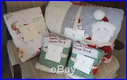 7pc Pottery Barn Kids Holiday Santa Quilt 2 shams Sheet set QUEEN Christmas