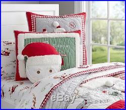7pc Pottery Barn Kids Holiday Santa Quilt 2 Shams Sheet
