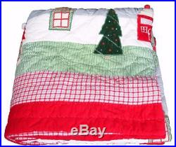 EUC Pottery Barn Kids Full Christmas Holiday 7 Pc North Pole Quilt and Sheet Set