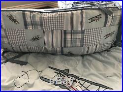 JANIE & JACK Airplane Patchwork 6 Pc Nursery Bedding Set Pottery Barn Sheet Crib