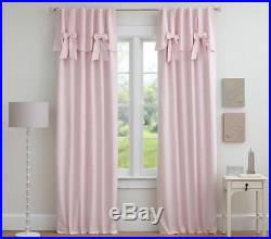 NEW 2 Pc SET Pottery Barn Kids EVELYN BOW VALANCE Blackout Panels Pink 84 long