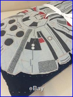NEW 2P Pottery Barn Kids Star Wars MILLENNIUM FALCON Cotton Quilt Sham Set TWIN