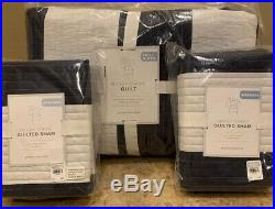 NEW 3PC Pottery Barn Kids Rugby Stripe FULL QUEEN Quilt + Shams NAVY WHITE