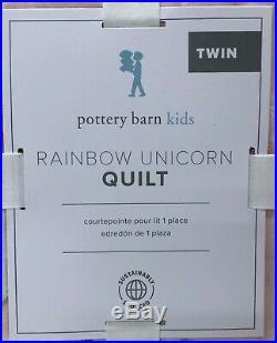 NEW Pottery Barn KIDS Unicorn Rainbow TWIN Quilt & Sheet SetPink