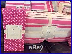 NEW Pottery Barn Kids 10pc Set Bright Pink Harper Crib Quilt Bumper Sham Sheet +