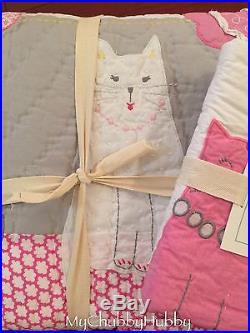 NEW Pottery Barn Kids 2Pc KITTY Twin QUILT & Standard SHAM CAT Prrrrr