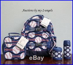 NEW Pottery Barn Kids 4pc BASEBALL Large Backpack Lunch Box Water Bottle Thermos