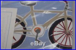 NEW Pottery Barn Kids BOY BICYCLE Bike Blue Red Full Queen Duvet Shams 3pcs SET
