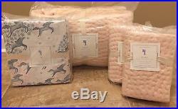 NEW Pottery Barn Kids CLARA Velvet Quilt 2 STANDARD Shams QUEEN Sheet Set HORSE