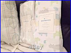 NEW Pottery Barn Kids Charlie Hippo Crib Quilt Bumper Skirt Sheet Pillow Unisex