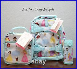 NEW Pottery Barn Kids DISNEY PRINCESS Small Backpack Lunch Bag Box Water Bottle