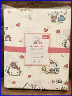 NEW Pottery Barn Kids Hello Kitty Organic 4pc Full Sheet Set, Cats, Hearts