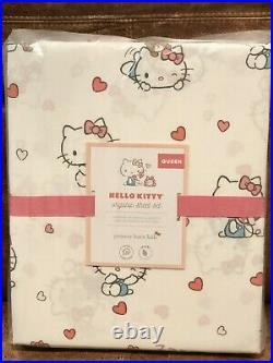 NEW Pottery Barn Kids Hello Kitty Organic 4pc Queen Sheet Set, Cats, Hearts